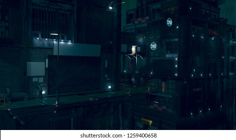 3D rendering of a futuristic cityscape. Gloomy urban landscape. Dark night scene. Modern cyberpunk wallpaper.  Illustration with high attention to detail and empty space to add your content.