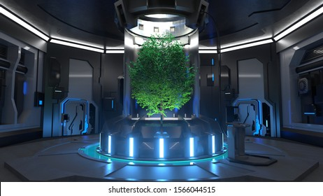 3D Rendering of Futuristic Hall of a Spaceship with Trees on the Middle