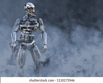 3D rendering of a futuristic mech soldier holding a gun in a polluted futuristic dystopian world. Toxic smoke all around him.