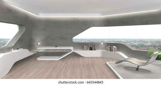 3D rendering of a futuristic modern living room interior with fair faced concrete wall