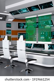3D rendering of a futuristic sceince fiction command and control center