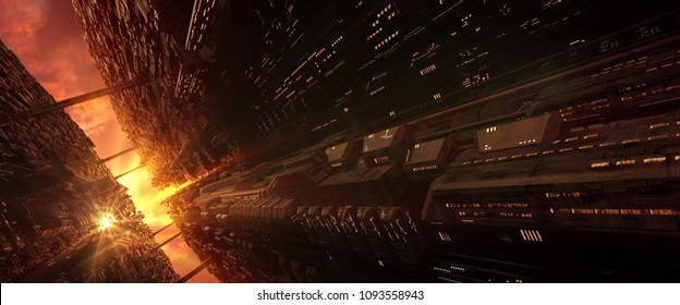 3D rendering of a futuristic sci-fi cityscape with advance technology of wall-tunnel scene in an evening sunlight