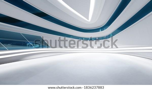 3D rendering futuristic streamlined interior space design