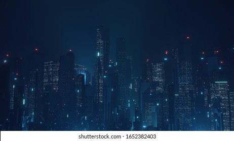 3D Rendering of futuristic virtual sci fi city. Many high sky scrapper building towers.  Concept for night life, business vision, technology product