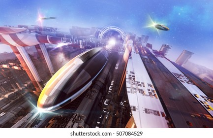 3d rendering - Futuristic world with stylized spaceships and stations.