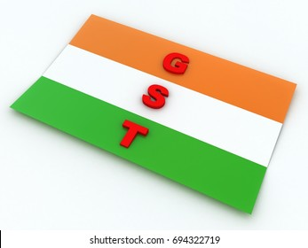 3d rendering G S T concept with Indian flage