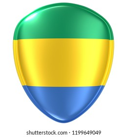 3d rendering of a Gabonese Republic flag icon on white background.