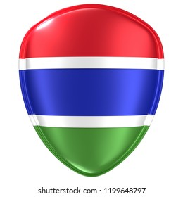 3d rendering of a Gambia flag icon on white background.