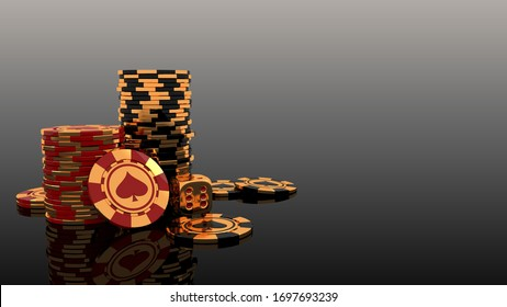 3D Rendering of Gambling leisure game concept background with elegant golden chips and dice for Poker, Blackjack or Baccarat game