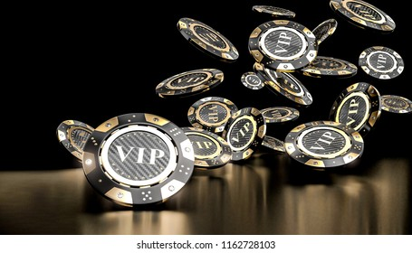 3d rendering of gambling vip golden chip