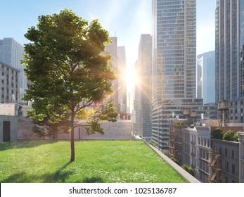 3d rendering. garden in a big city. living concept.