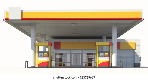 3d Rendering of a Gas station on white background. 3D render. Isolated