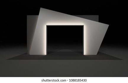 3D Rendering of Gate Entrance Booth Exhibition Design Concept Modern interior Illustration