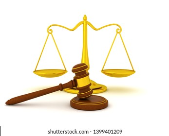 3D Rendering of  gavel in front of scales of justice. 3D Rendering isolated on white.