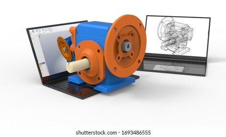 3D rendering - gear reducer over laptop with 2D drawings
