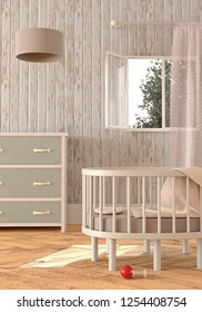 3D rendering of a gender neutral nursery with a crib, window curtains, a dresser and a lamp in pastel colors