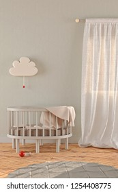 3D rendering of a gender neutral nursery with a crib, window curtains, a lamp and a carpet in pastel colors