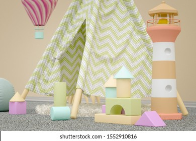 3D rendering of a gender-neutral nursery with a tent, toy blocks and fluffy animals