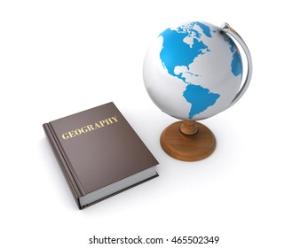3d rendering of a geography book and desktop globe