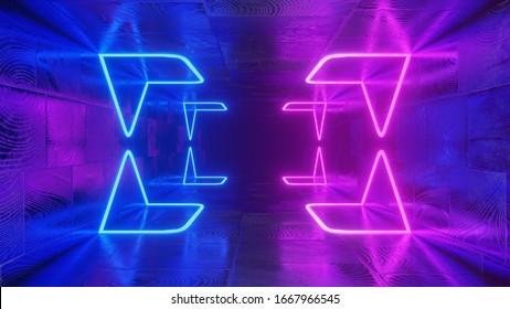 3d Rendering. Geometric figure in neon light against a dark tunnel. Laser glow. Neon backgrounds