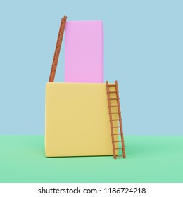 3D rendering of  geometric forms with ladders