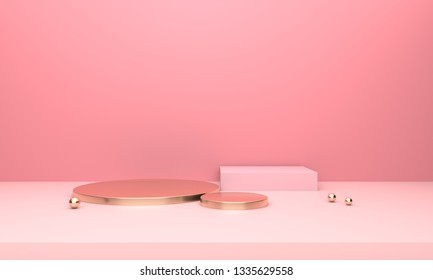 3D rendering geometry with pink and gold spliced square platform background