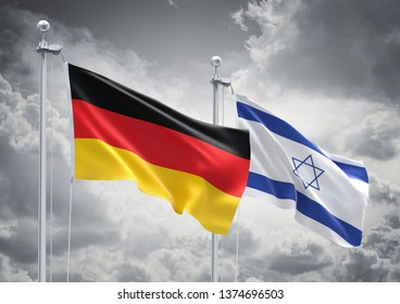 3D Rendering of Germany & Israel Flags are Waving in the Sky - 3d illustration