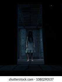 3d rendering of a ghost woman in white in a haunted house