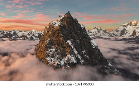 3D rendering of a giant peak towering over the surrounding mountains