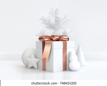 3d rendering gift box copper reflection bow ribbon christmas tree sphere cone star snowman white scene minimal abstract background christmas new year holiday winter concept