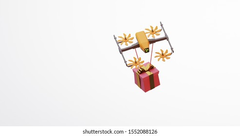 3D rendering of a giftbox flying held by a drone, Drone is a great tool for delivering gift, Isolated on white, Colorful 3d rendering holiday christmas new year concept
