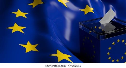 3d rendering glass ballot box on EU flag background
