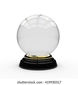 3D rendering of a glass crystal ball mounted on a gold ring and black painted wooden base on a white background