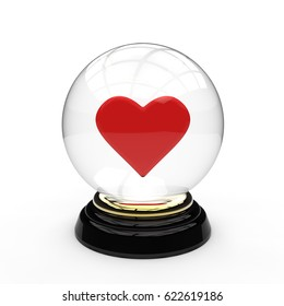 3D rendering of a glass crystal ball mounted on a gold ring and black wooden base, and with a red heart in the middle on a white background