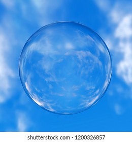 3d rendering of glass sphere reflecting blue cloudy sky