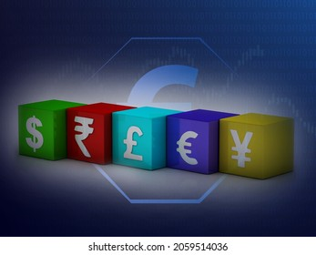 3d rendering Global Currencies sign; dollor , rupee , pound , euro , yen