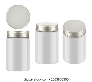 3D rendering glossy cosmetic jar with metal screw cap for cream, butter, scrub, gel, powder, wax. Realistic packaging mock up template