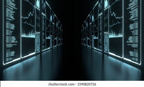 3D Rendering of glowing led blue color of business information data on high tech glass panel. Concept for financial advisory using artificial intelligence technology.