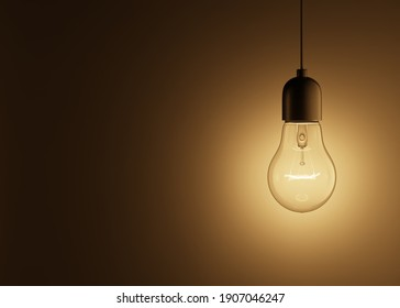 3d rendering of a glowing light bulb hanging on a wire on a black background