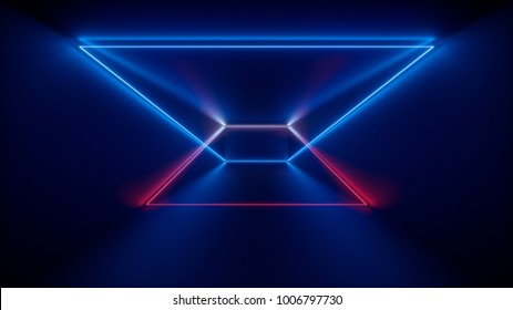 3d rendering, glowing lines, neon lights, abstract psychedelic background, product showcase template, ultraviolet, rainbow vibrant colors