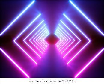 3D rendering Glowing Neon Lights on dark background
