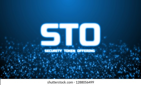 3D rendering of glowing Security Token Offering (STO) text on abstract binary background. For crypto currency, token promoting, advertising purpose