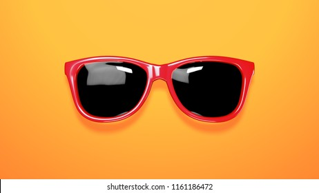 3d rendering of goggles on colorful background. Nice reflective glasses.