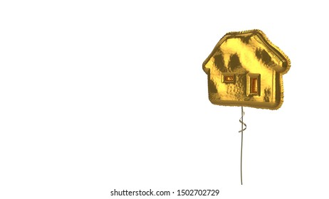 3d rendering of gold balloon shaped as symbol of house with window and door isolated on white background with ribbon