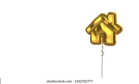 3d rendering of gold balloon shaped as symbol of home with door and chimney isolated on white background with ribbon
