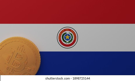 3D Rendering of Gold Bitcoin in the Bottom Left Corner on the Flag of Paraguay