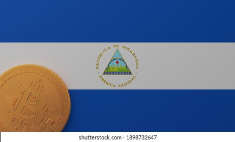 3D Rendering of Gold Bitcoin in the Bottom Left Corner on the Flag of Nicaragua