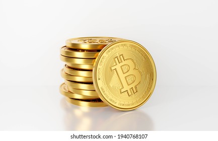 3d rendering of gold Bitcoin business isolated on white background abstract. Bit Coin BTC. Blockchain technology concept. Cryptocurrency or crypto currency symbol.