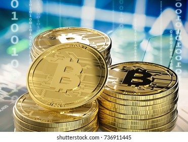 3d rendering gold bitcoin or digital currency