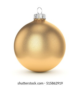 3D rendering gold Christmas ball on a white background